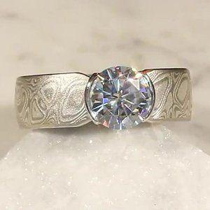 Diamond Ring Half Bezel Setting 1.50 Cts Solitaire